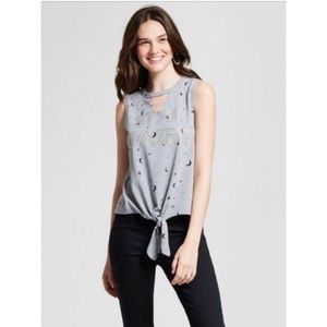 Modern Lux Tie Front Cut Out Graphic Tank Top